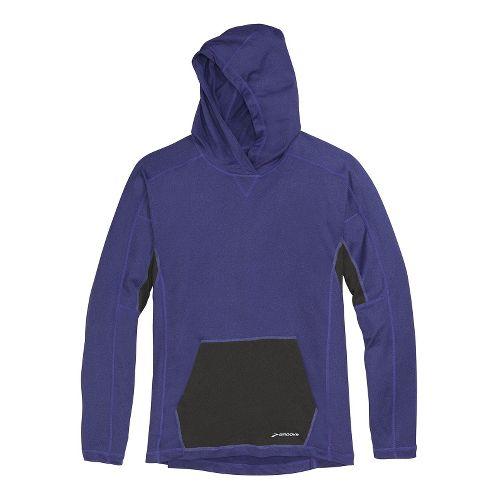 Mens Brooks Essential Hoodie Long Sleeve No Zip Technical Tops - Prince/Black XXL