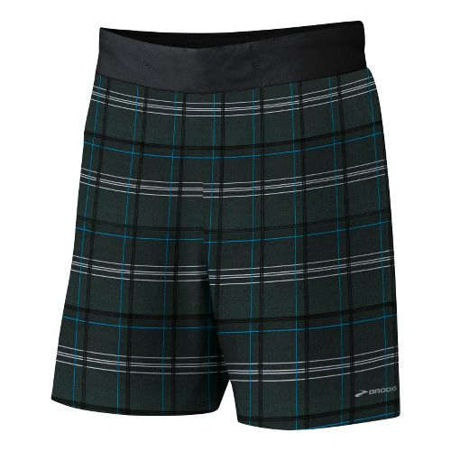 Mens Brooks Board Racer Short Lined Shorts - Cyan Plaid Print/Black L