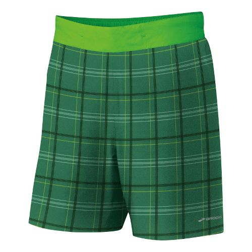 Mens Brooks Board Racer Short Lined Shorts - Green Plaid/Bright Green S
