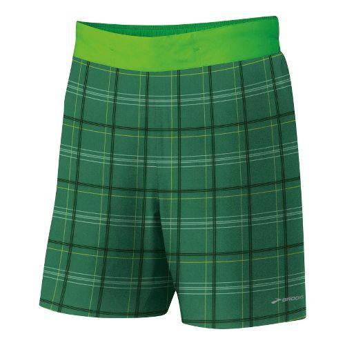 Mens Brooks Board Racer Short Lined Shorts - Green Plaid/Bright Green XXL
