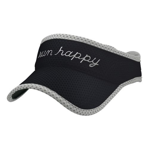 Brooks Run Happy Visor Headwear - Black/White