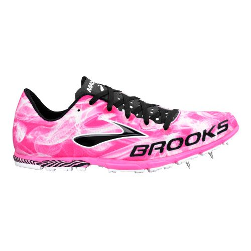 Womens Brooks Mach 15 Spike Track and Field Shoe - KnockoutPink/Black 8.5