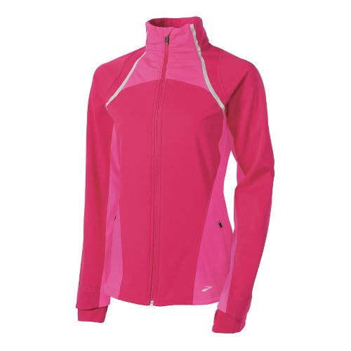 Womens Brooks Utopia Softshell II Running Jackets - Pomegranate/Bright Pink S