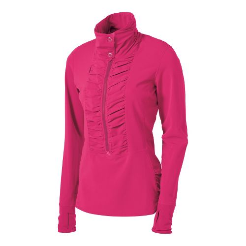 Womens Brooks Infiniti Anorak Long Sleeve 1/2 Zip Technical Tops - Pomegranate L