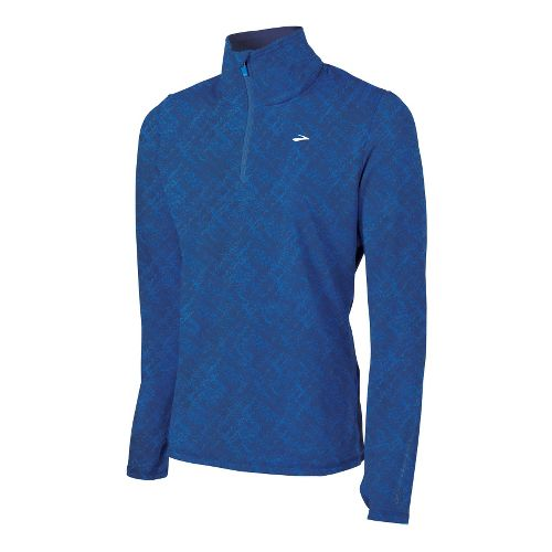 Mens Brooks Utopia Thermal Long Sleeve 1/2 Zip Technical Tops - Midnight Splatter Print S ...