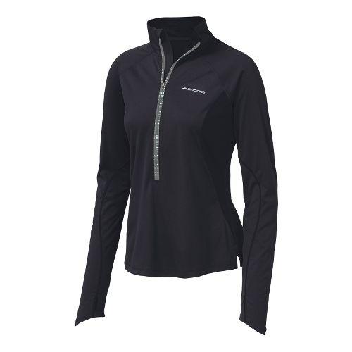 Womens Brooks Infiniti Hybrid Wind Shirt Long Sleeve 1/2 Zip Technical Tops - Black M ...