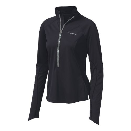 Womens Brooks Infiniti Hybrid Wind Shirt Long Sleeve 1/2 Zip Technical Tops - Black XS ...
