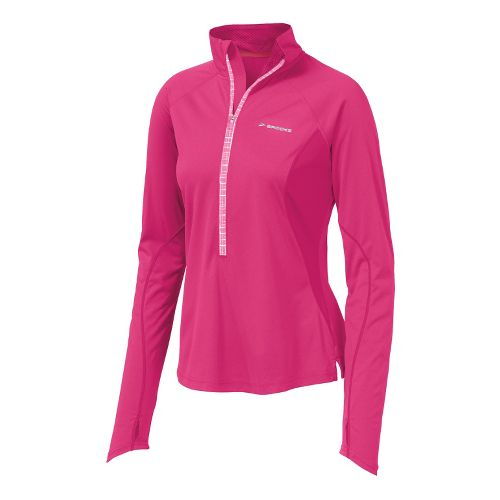 Womens Brooks Infiniti Hybrid Wind Shirt Long Sleeve 1/2 Zip Technical Tops - Brite Pink ...