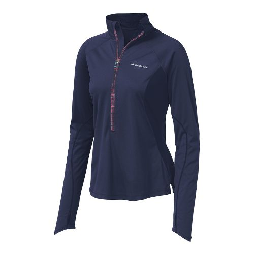 Womens Brooks Infiniti Hybrid Wind Shirt Long Sleeve 1/2 Zip Technical Tops - Midnight XL ...