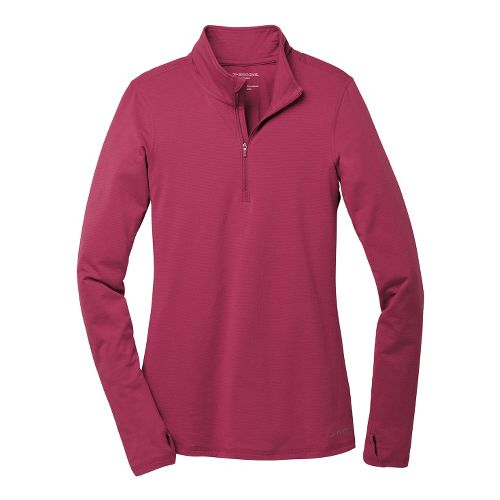 Womens Brooks Heater Hog Long Sleeve 1/2 Zip Technical Tops - Heather/Jam XS
