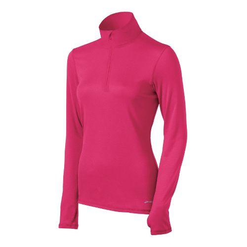 Womens Brooks Heater Hog Long Sleeve 1/2 Zip Technical Tops - Pomegranate XL