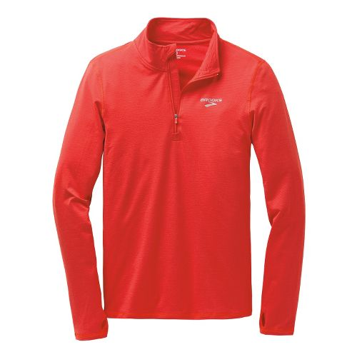Mens Brooks Heater Hog Long Sleeve 1/2 Zip Technical Tops - Heather Mars XS