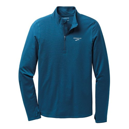 Mens Brooks Heater Hog Long Sleeve 1/2 Zip Technical Tops - Poseidon XL