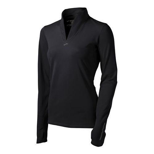 Womens Brooks Utopia Thermal Long Sleeve 1/2 Zip Technical Tops - Black XS