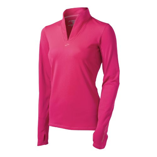 Womens Brooks Utopia Thermal Long Sleeve 1/2 Zip Technical Tops - Pomegranate L