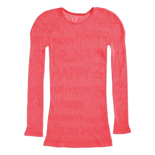 Womens Brooks Equilibrium Base Long Sleeve No Zip Technical Tops - Poppy M/L