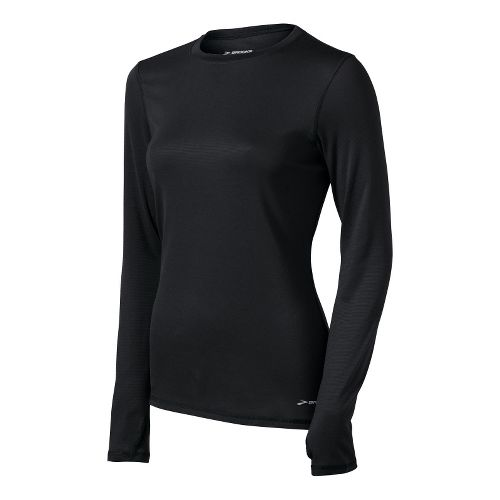 Womens Brooks Heater Hog Long Sleeve No Zip Technical Tops - Black XS