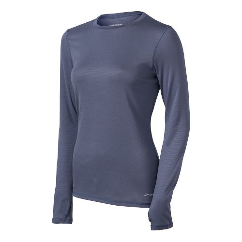 Womens Brooks Heater Hog Long Sleeve No Zip Technical Tops - Denim S