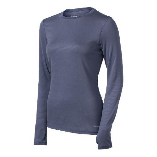 Womens Brooks Heater Hog Long Sleeve No Zip Technical Tops - Denim XL