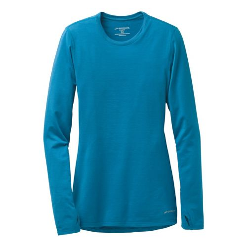 Womens Brooks Heater Hog Long Sleeve No Zip Technical Tops - Heather Aurora XL