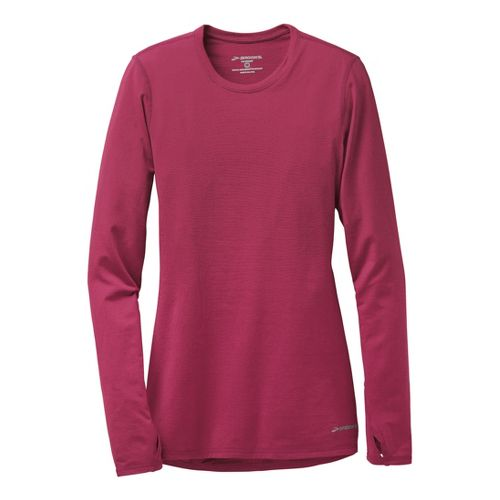 Womens Brooks Heater Hog Long Sleeve No Zip Technical Tops - Heather/Jam M