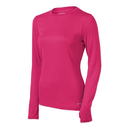 Womens Brooks Heater Hog Long Sleeve No Zip Technical Tops - Pomegranate XS
