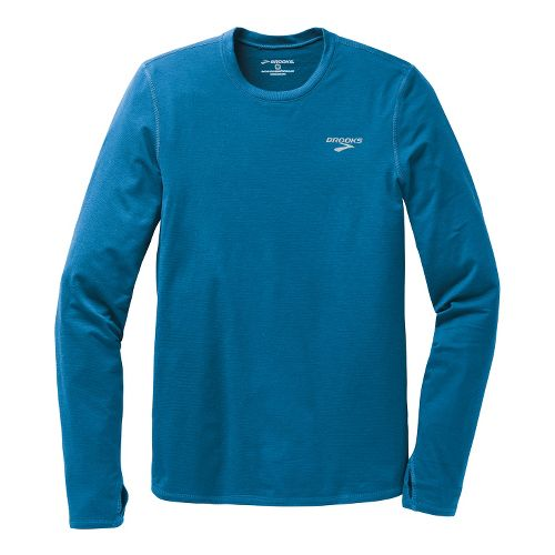 Mens Brooks Heater Hog Long Sleeve No Zip Technical Tops - Baltic XXL