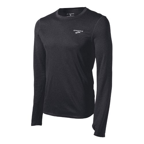 Mens Brooks Heater Hog Long Sleeve No Zip Technical Tops - Black L