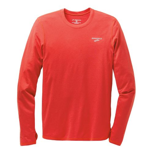 Mens Brooks Heater Hog Long Sleeve No Zip Technical Tops - Heather Mars XS