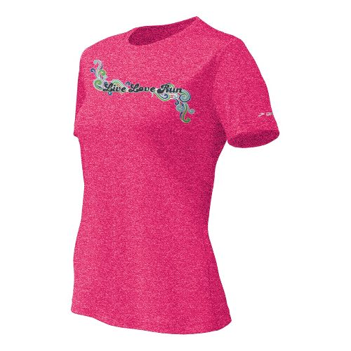 Womens Brooks EZ T II Live Love Run Short Sleeve Technical Tops - Pomegranate S ...