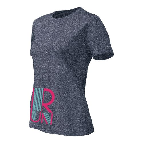 Womens Brooks EZ T II RUN Short Sleeve Technical Tops - Midnight L