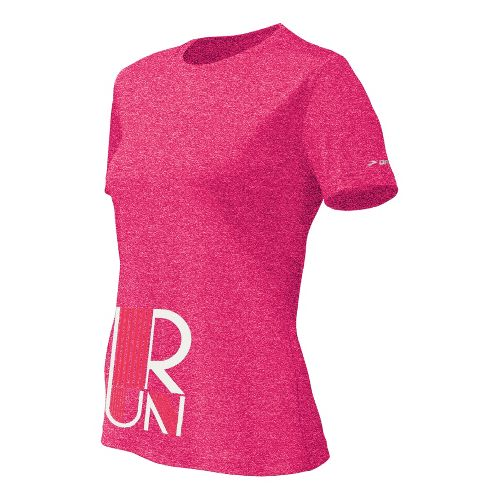 Womens Brooks EZ T II RUN Short Sleeve Technical Tops - Pomegranate L