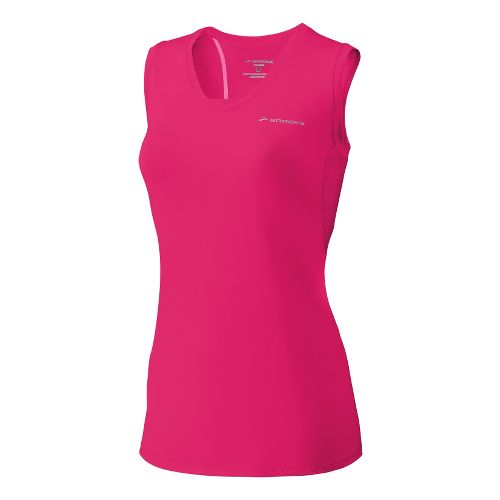 Womens Brooks Equilibrium Racerback II Tanks Technical Tops - Pomegranate M