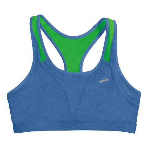 Womens Brooks Versatile Sports Bras - Heather Electric/Lime S