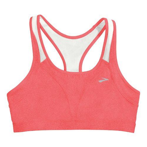 Womens Brooks Versatile Sports Bras - Poppy/White L