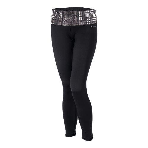 Womens Brooks Infiniti III Fitted Tights - Black/Plaid XS