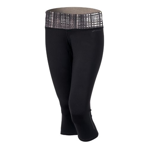 Womens Brooks Infiniti III Capri Tights - Black/Black Hatch XL