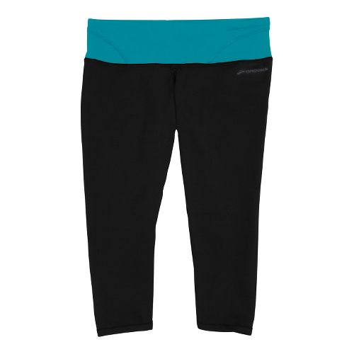 Womens Brooks Infiniti III Capri Tights - Black/Caribbean M