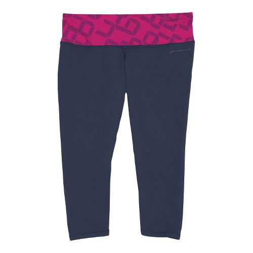 Womens Brooks Infiniti III Capri Tights - Midnight/Fuchsia Digi Print XL