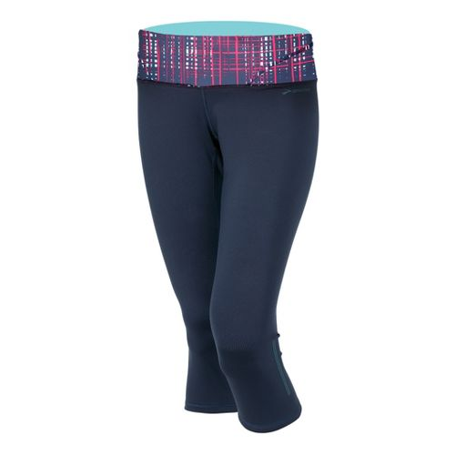 Womens Brooks Infiniti III Capri Tights - Midnight/Midnight Hatch S