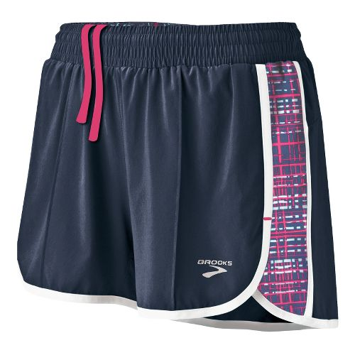 Womens Brooks Epiphany Stretch II SE Splits Shorts - Midnight/Midnight Hatch L