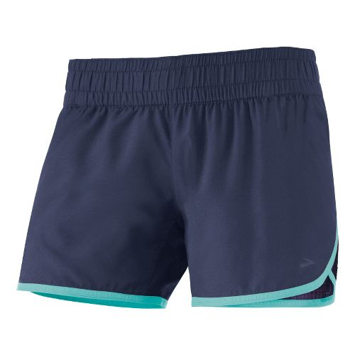 Womens Brooks D'lite 4 inch Low Rise Lined Shorts - Midnight/Midnight Hatch L