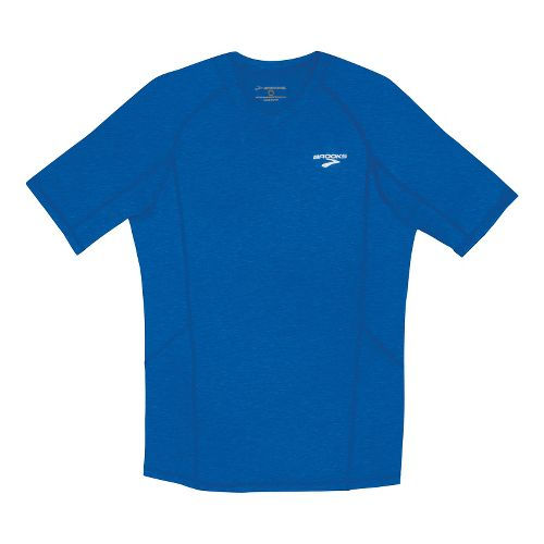 Mens Brooks Essential Short Sleeve Technical Tops - Electric Blue/Heather XXL