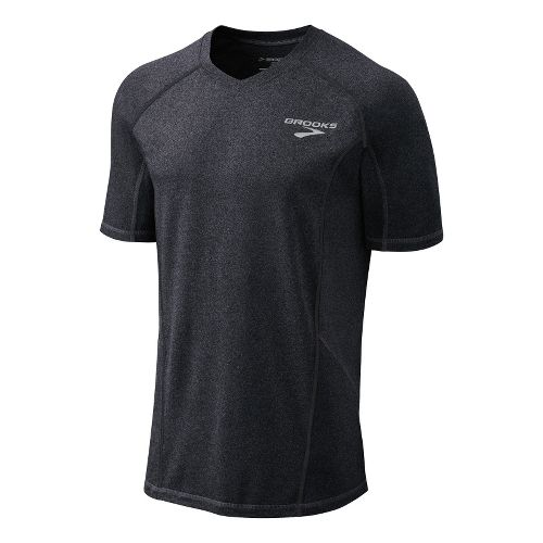 Mens Brooks Essential Short Sleeve Technical Tops - Heather Black XL