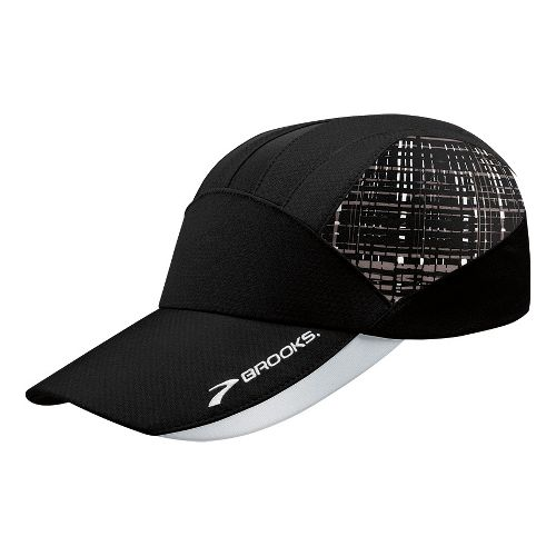 Brooks Printed Mesh Hat Headwear - Black/Black Hatch