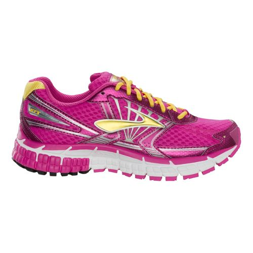 Kids Brooks Adrenaline GTS 14 Running Shoe - Rose Violet/Dandelion 3.5