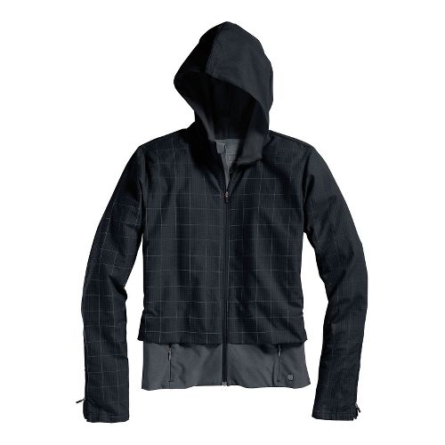 Womens Brooks PureProject Running Jackets - Black Plaid/Black M