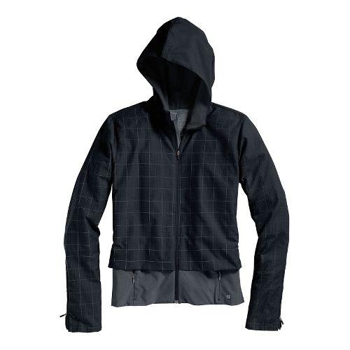Womens Brooks PureProject Running Jackets - Black Plaid/Black XL
