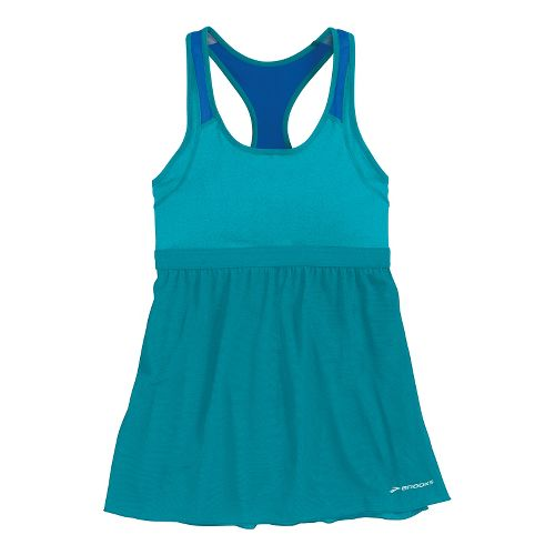 Womens Brooks Versatile Support Tank Sport Top Bras - Heather Caribbean/Electric M