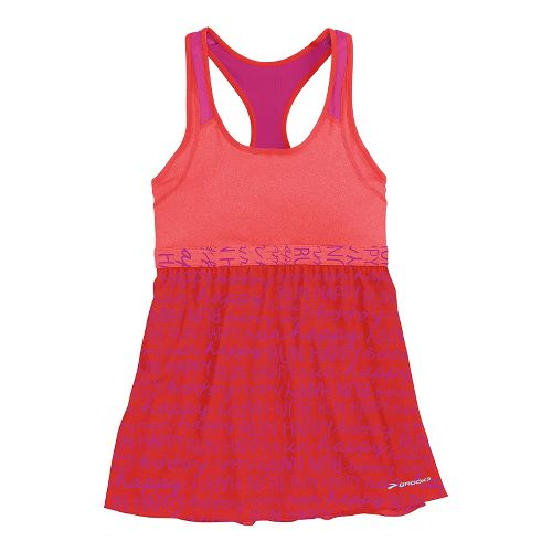 Womens Brooks Versatile Support Tank Sport Top Bras - Heathered Poppy/Poppy Run Happy L